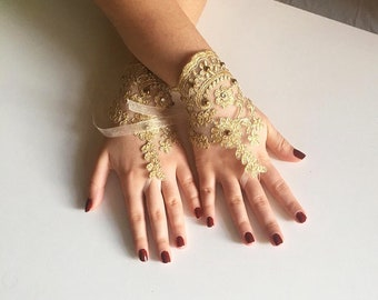 3e16e6f95b4 Gold Lace gloves fingerless lace Wedding gloves yellow belly dance french  lace bridal gloves
