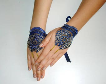 Blue and Gold lace gloves,
