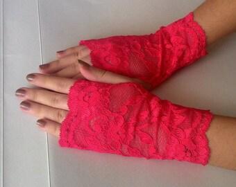 Hot Red Pink gloves Lace Fingerless Gloves Wedding Gloves