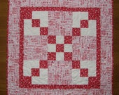 Valentines Day Quilted Table Topper, Red Pink Valentines Day Table Topper Quilt, Red Pink Table Topper, Patchwork Table Topper Red Pink