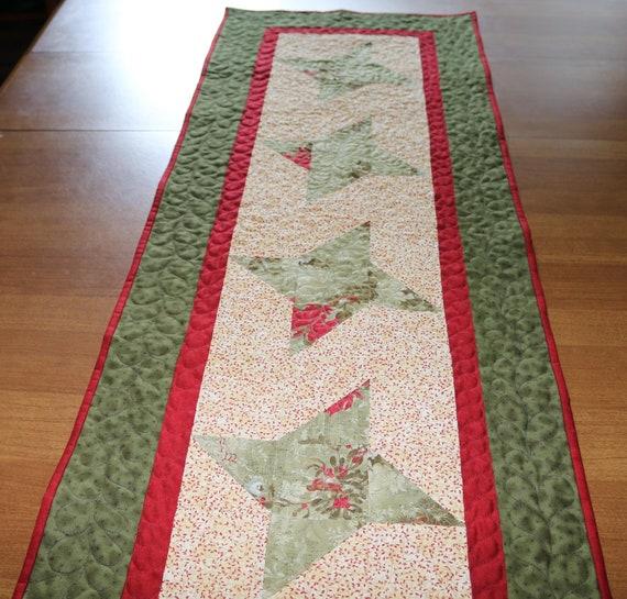 Christmas Table Runner To Make.Christmas Quilted Table Runner Star Table Runner Quilt Handmade Table Runner Red Green Table Runner Patchwork Christmas Table Runner