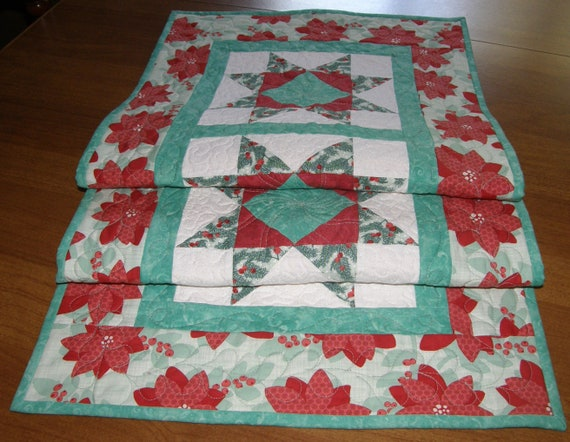 Christmas Table Runner Quilt.Christmas Quilted Table Runner Christmas Table Runner Quilt Mint Green Red Table Runner Floral Table Runner Patchwork Table Runner