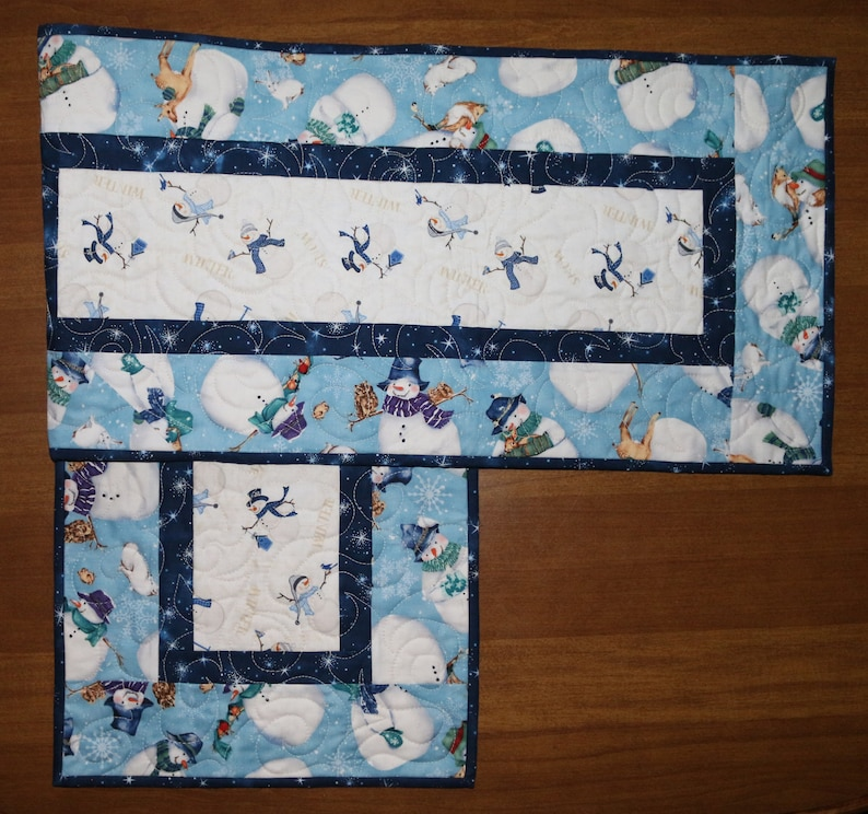 Winter Quilted Table Runner Christmas Quilted Table Runner Blue White Table Runner Snowman Table Runner Christmas Table Runner Quilt
