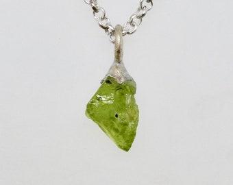 Green Peridot and Silver Pendant Rough Gemstone Jewelry