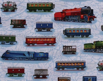 Cotton Trains Railroads Boxcars Travel Transporation All Aboard Cotton Fabric Print by the Yard (AKO-14089-195-BRIGHT) D562.27