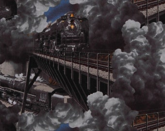 Cotton Locomotives Trains Transportation Train Cars Caboose Express Tracks Gray Cotton Fabric Print by the Yard (1301-95) D782.52