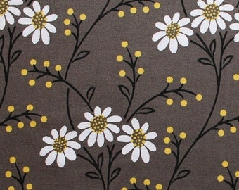 Flowers on Dark Gray Floral Wallflower Waltz Cotton Fabric Print BTY D506.14