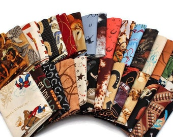 10 Fat Quarters - Assorted Western Cowboys Old West Out West Horses Rodeo Horse Lasso Boots Horseshoes Quilters Cotton Fabric Bundle M221.11