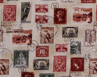 Cotton Vintage Postage Stamps Allover Birds Portraits Correspondence Snail Mail Longfellow Fabric Print By The Yard 41522 4 D37720
