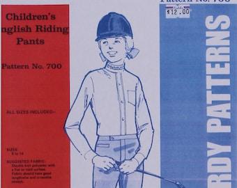 Equestrian Sewing Pattern Jean Hardy Kid/'s Jodhpurs OUT OF PRINT