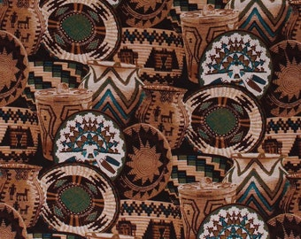 Cotton Woven Baskets Basket Vase Southwestern Cotton Fabric Print BTY D361.04