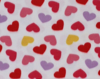 LOVE HEARTS Double Sided Super Soft Cuddle Fleece Fabric Material
