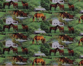 Horses Breeding Farm Quilt Panel Wild Wings Quarter Horses Barn on Cotton Fabric