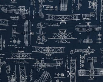 cotton vintage airplanes planes blueprints biplanes diagrams plans flying  aviation aviators cotton fabric print by the yard d762 33