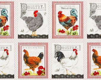 "23.5/"" X 44/"" Panel Farm Animals Blocks Down on the Farm Cotton Fabric D773.16"