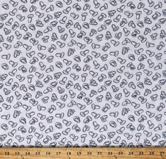 Wedding Rings Bands Diamonds Marriage White Cotton Fabric Print by Yard D388.21