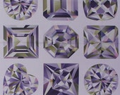 24 quot X 44 quot Panel Gemstone Crystal Diamonds Jewels Hearts Squares Stars Fascets White Cotton Fabric Print by the Yard (DP22669) D483.37