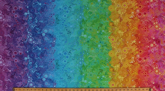 Rainbow Dots Circles Bubbles Effervescence Cotton Fabric Print by Yard D306.15