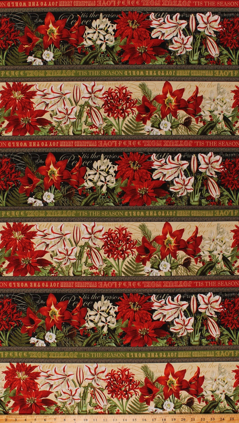 D402.57 23.5 X 44 Panel Poinsettias Christmas Greenery Floral Joy Tis the Season Winter Yuletide Botanica Cotton Fabric Panel 1068-88