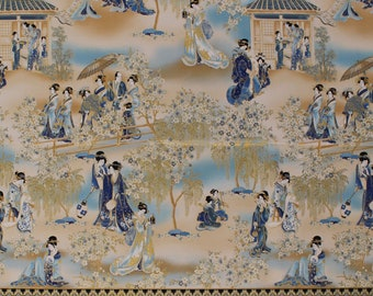 Cotton Japanese Women Geishas Garden Flowers Trees Imperial Collection Metallic Gold Fabric Print by the Yard (AHYM-188621-62INDIGO) D760.33