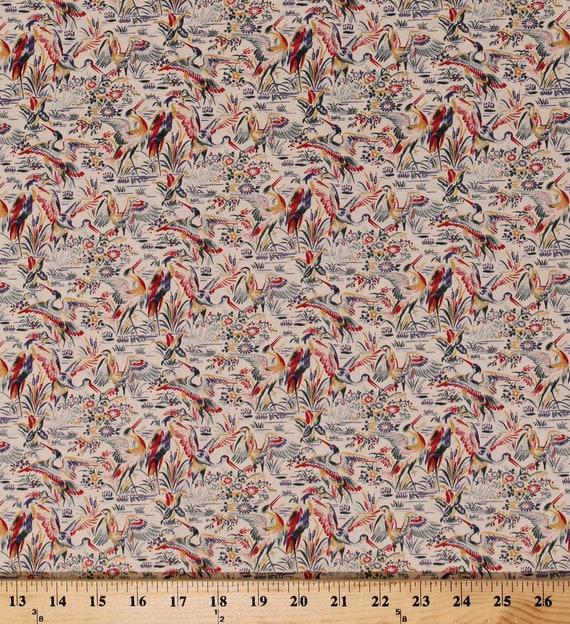 Herons Storks Pond Birds Flowers Floral on Ecru Cotton Fabric Print BTY D463.33