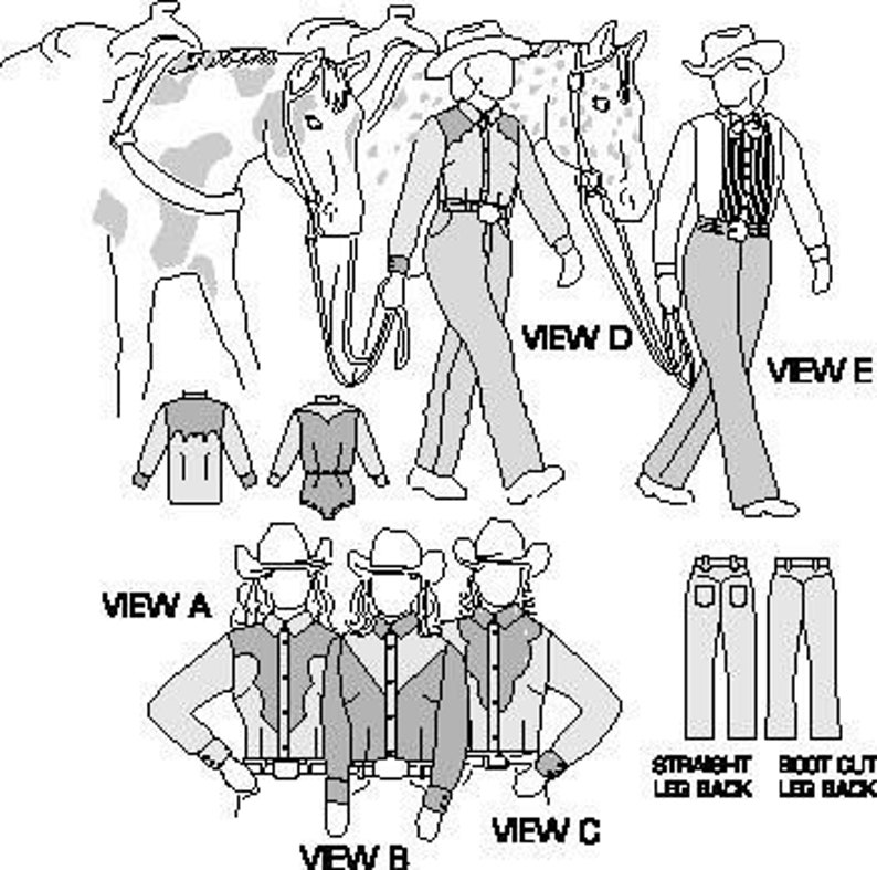 Vintage Western Wear Clothing, Outfit Ideas     Suitability 3790 Womens Western Show Shirts and Pants Pattern $12.00 AT vintagedancer.com