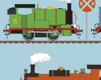 "44"" X 44"" Panel Thomas the Train Trains Railroads Cartoons Kids Transportation Travel Blue Cotton Fabric Panel (C11006) D387.14"