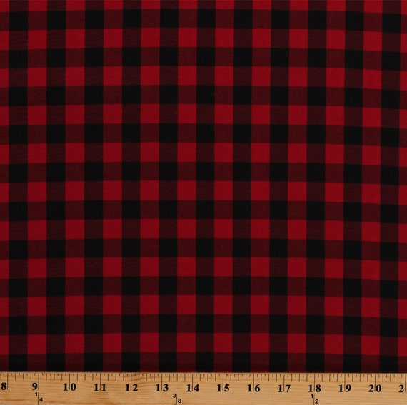 Cotton Buffalo Plaid Gingham Check Red Black Woven Cotton Fabric BTY D562.21