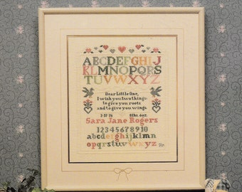 Pat Rogers' Counted Collection Roots and Wings Birth Sampler Cross Stitch Booklet