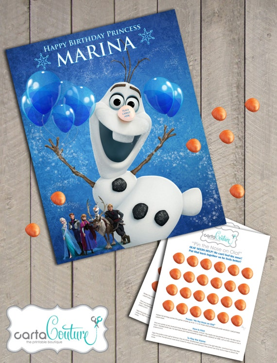 Items similar to DIY Personalized Disney's Frozen Pin the Nose on Olaf Birthday Party Game