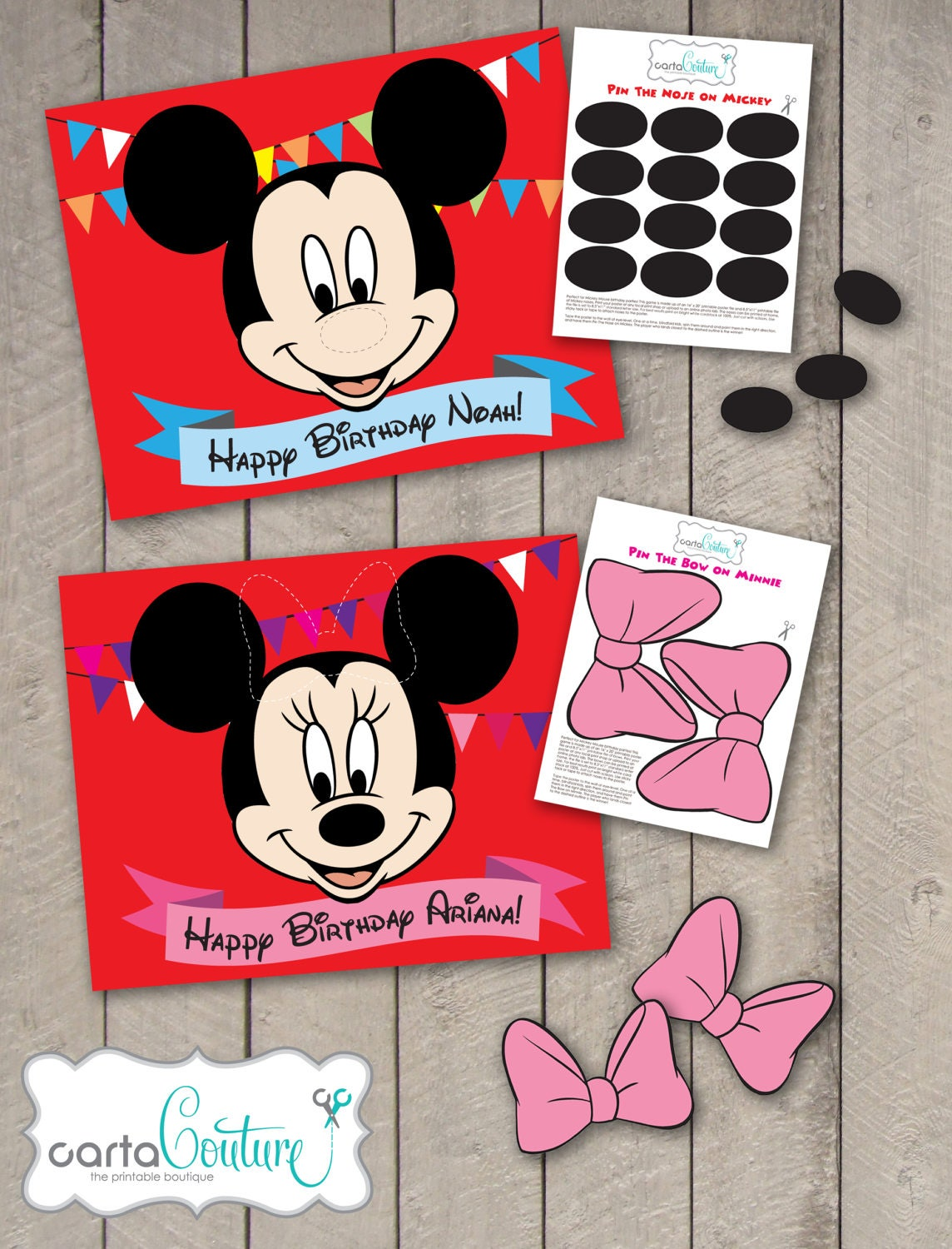 Diy Personalized Pin The Nose On Mickey Or Pin The Bow On Etsy
