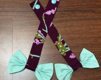 Reach Straps: Birds on plum (Chloe) with mint bows