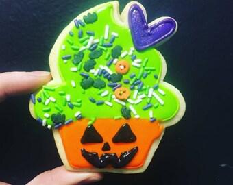 Jack o lantern cupcake cookies