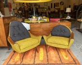 Pair of His and Hers Adrian Pearsall Craft Associates Lounge Chairs