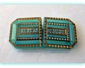 FRENCH sea foam  // RARE Glass Buckle Vintage  Antique  Art Deco 1920- 30 // Soft Green with 24k Gold // Superb Condition //  30 x 60mm