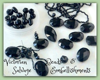 deluxe Victorian SALVAGE // Antique BLACK Glass Jet Beads & Embellishments to ReCycle ReUse  // Origins England //  See Photos  lotA