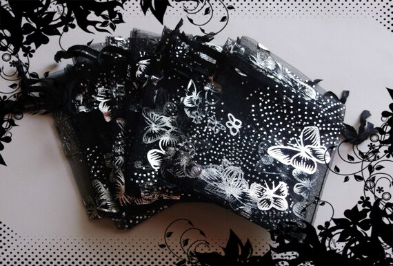25 Organza Bags ( 2.5 x 3 in ) .. Black W/ Silver Butterflies /  Small Black Organza Bags, Gifts, Drawstring, Pouch, Jewelry, Favor Bags