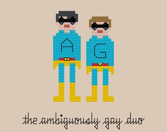 The Ambiguously Gay Duo SNL Cross Stitch Pattern INSTANT DOWNLOAD