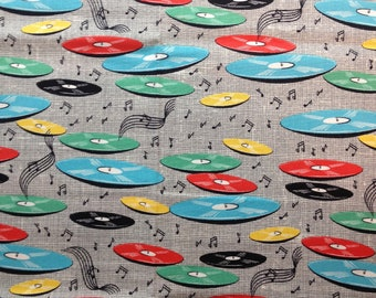 Cotton Fabric Fat Quarter quilting Records on Black Music Discs albums