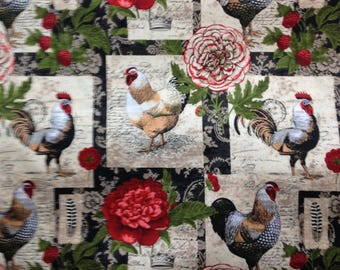 "Red Rooster /""Isabella/"" Print rose green cream on brown Fabric by Anna Fishkin"