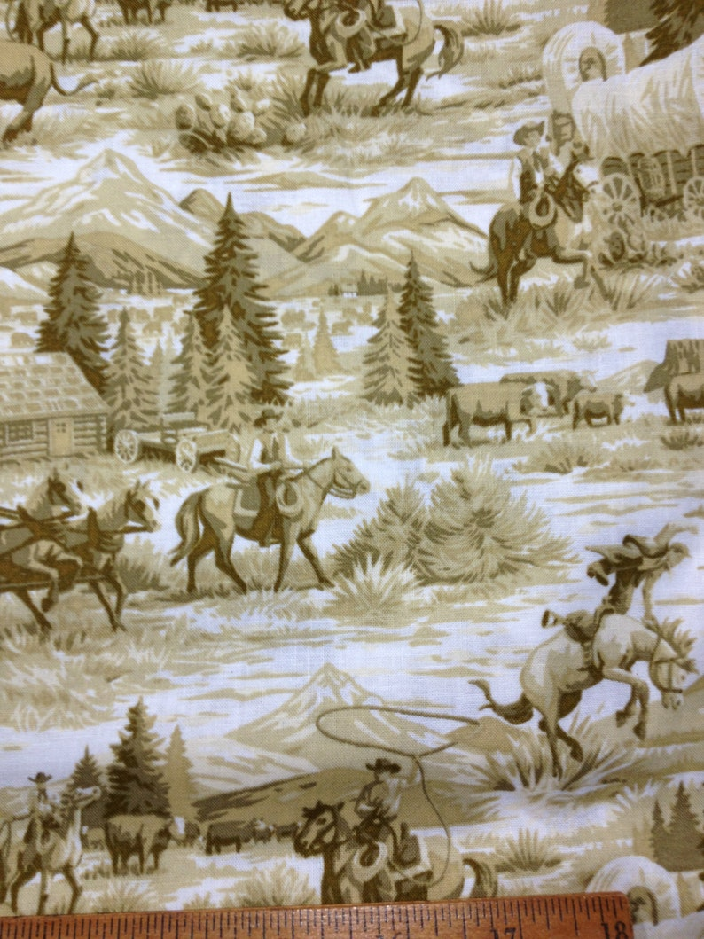 Horses Wagons Home /& Living West Trees Valance Accessories Cowboys Allover Yellow Green Cabin Window Scenic Toile