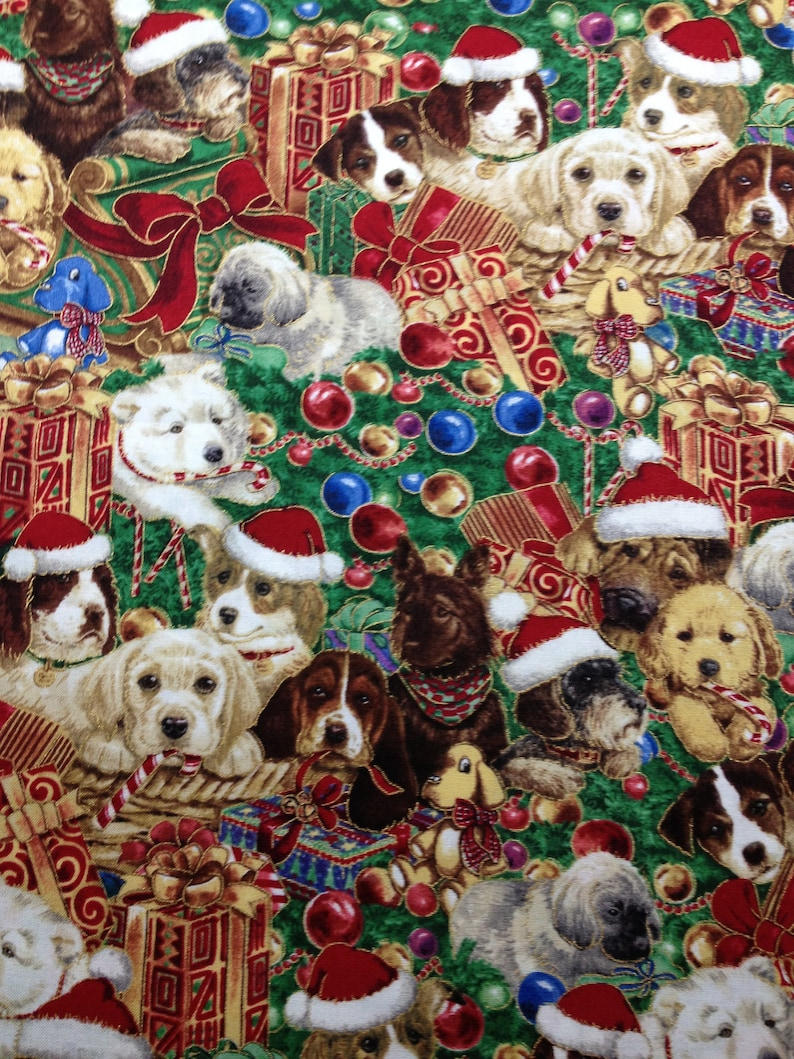 Christmas Puppies.Christmas Puppies Dogs Animals Presents Bows Tree Red Blue Brown White Green Gold Trim Holiday Fabric Quilting Sewing