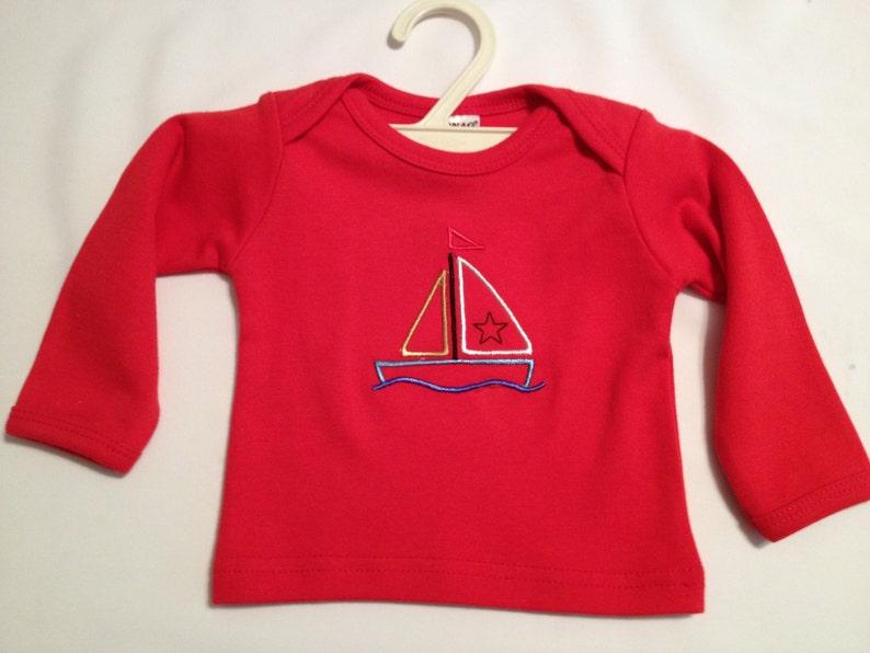 53a86cf34 Boys 3-6 Mo L/S Red Cotton Monag Premade Shirt Sailboat | Etsy