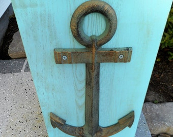25% OFF SALE -Large distressed brass anchor / beach decor / nautical decor