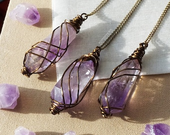 ONE-OF-A-KIND// Double Terminated Amethyst Wand Vintage Brass Wirewrapped, Chakra Moonchild Healing February Birthstone, Necklace
