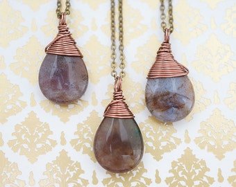 NATURAL Smooth Ametrine Single Drop Necklace, Colors may Vary, Simple Everyday Chakra Zen Genuine Boho Gift for Her, Necklace