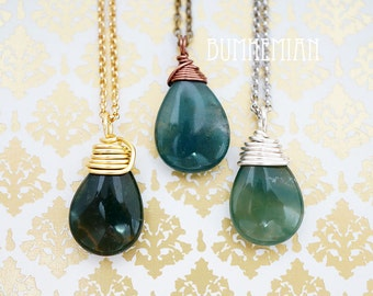 NATURAL Jade Smooth Single Drop Necklace, Colors may Vary, Simple Everyday Chakra Zen Genuine Boho Gift for Her, Necklace