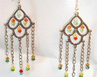 Colorful Long Chandelier Earrings