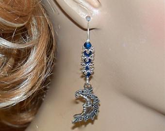 Artistic Moon Multicolored Drop Earrings/ Womens Dangle Earrings/ Crescent Moon Earrings/ Man in the Moon Earrings/ Crystal Moon Earrings