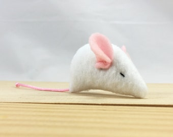 Pinkie Mouse Cat Toy: Light Pink Ears, Light Pink Tail, Organic Cat Toy, Mouse Toy